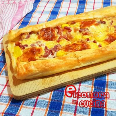 TORTA DI PASTA SFOGLIA CON PATATE E PANCETTA  la ricetta torta salata di Eleonora in Cucina - Eventi Salento